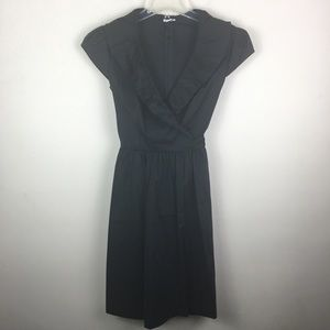 Cache black ruffle collar wrap dress with pockets